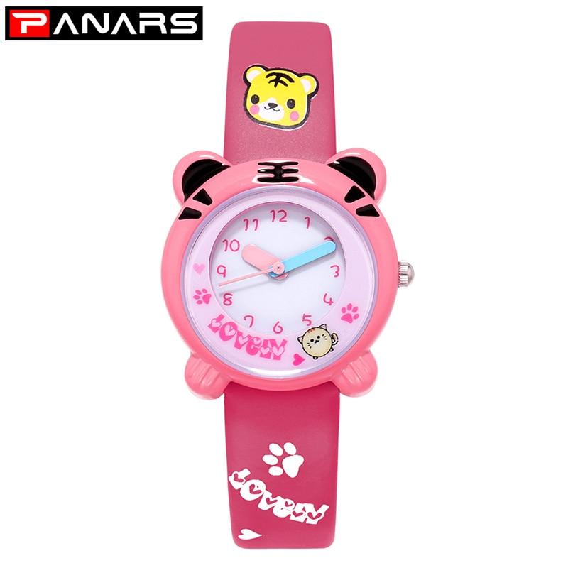 PANARS NEW Arrive Cute Tiger Cartoon Quartz Watch Kids Watches Printed Strap Shockproof Waterproof Boys Girls Gift Watches Clock