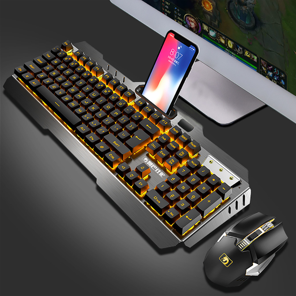 Mouse Game-Set Mechanical-Keyboard Rechargeable Wireless Combo 20 And