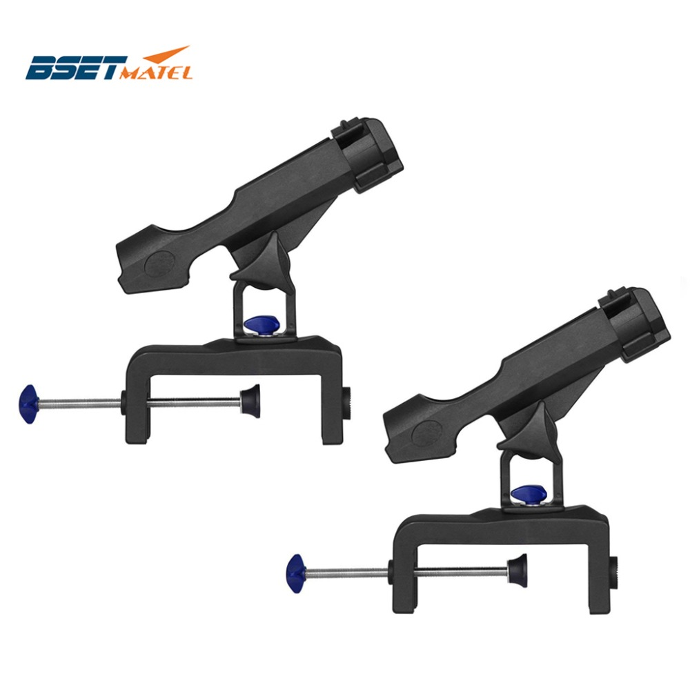 BSET MATEL 2 Pieces 360 Degree Adjustable Fishing Rod Holders Clamp On Removable Kayak Boat Support Pole Stand Bracket