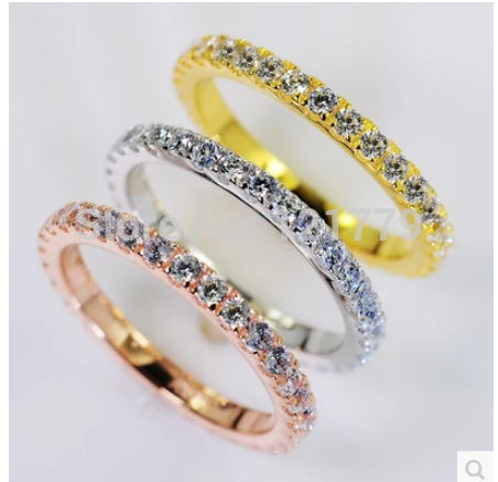 Bijoux fins 0.72CT sona simulé Gem Infinity couleur argent anneaux de mariage pour les femmes, bandes de mariage de couleur or blanc solide,