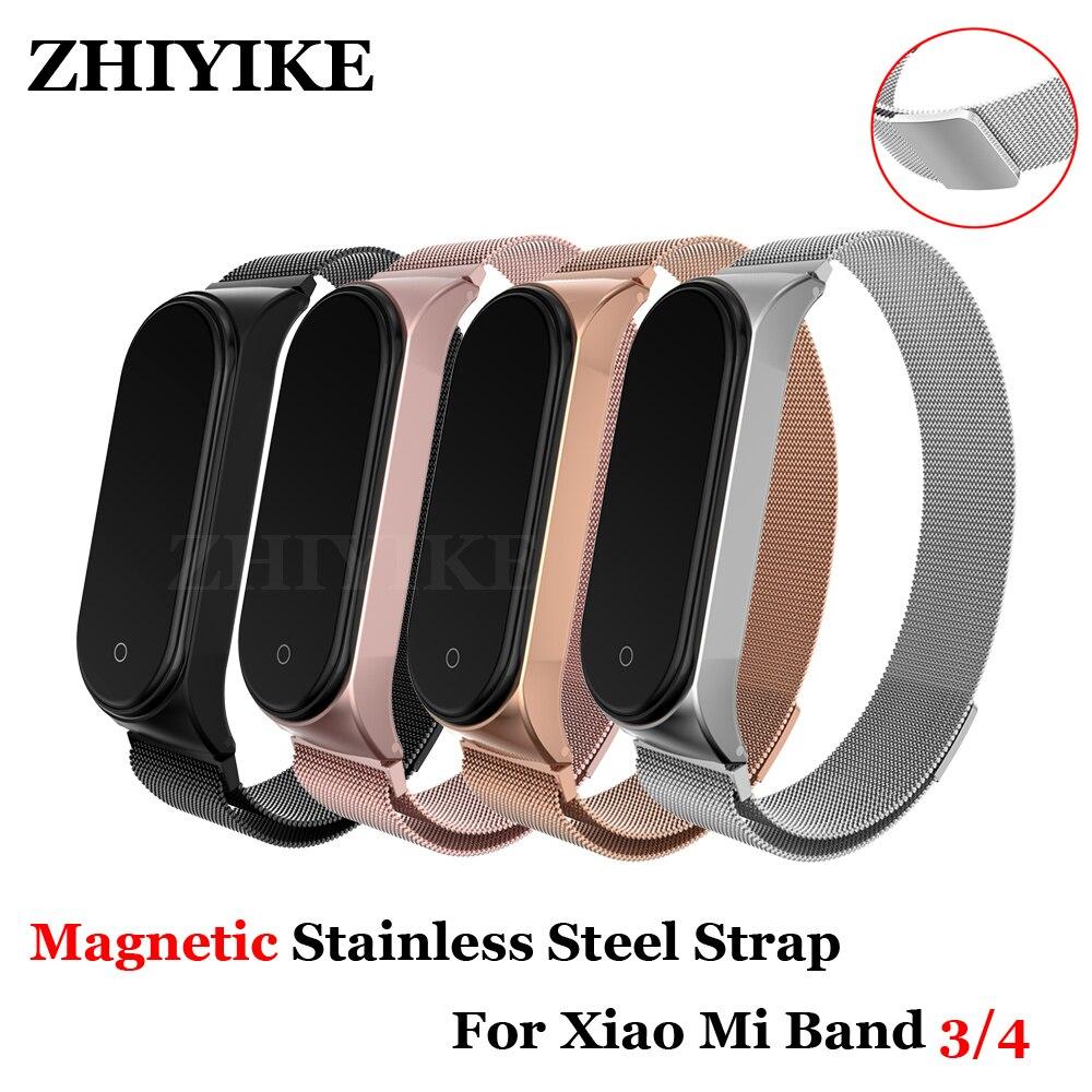 Bracelet magnétique en métal Bracelet pour Xiao mi bande 4 3 sangle de fermeture en acier inoxydable mi bande 4 Bracelet sans vis