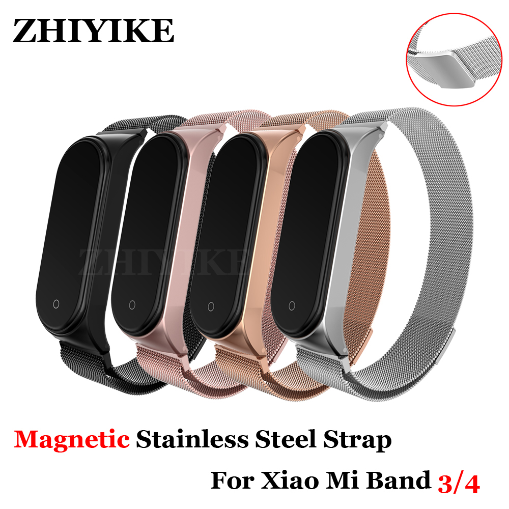 Metal Magnetic Wrist Band Bracelet Strap For Xiaomi Mi Band 4 3 Closure Strap Stainless Steel MiBand 4 Wrist Band Screwless Belt