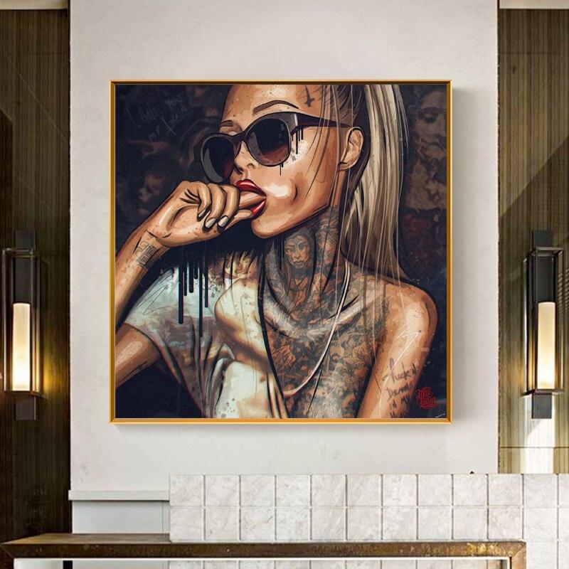 Крутая Татуировка девушки носить очки настенные плакаты холст