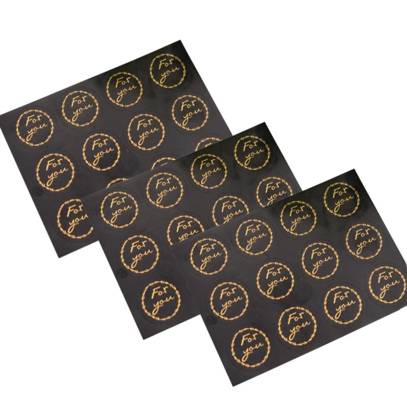 120pcs/lot Black Handmade Circular Yellow FOR YOU Sealing Sticker Decorative Label For DIY Gift Cake