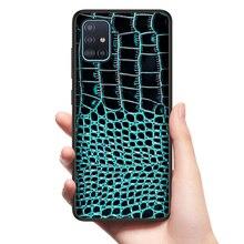 Echtem Krokodil Leder Tasche für Samsung Galaxy A51 A71 A10S A20S S20 S10 Plus A50 A70 A81 A91 A21 A01 beste Schutz Fall