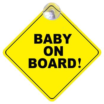 BABY ON BOARD Stroller Safety Car Window Sticker Yellow Reflective Warning Sign image