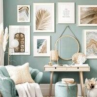 Póster de puerta dorada con hojas de palma y ágata para decoración de la sala de estar, arte de pared de estilo nórdico con imágenes decorativas