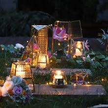 Glass Tealight Candle Holders Garden Wedding Decorations Metal Christmas Lights Candlestick Geometric Nordic Light Holder