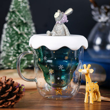 Двойная глазурованная Рождественская тема креативная Рождественская елка звездный принт с крышкой чашка домашняя кухня украшение Питьевая утварь# YL10