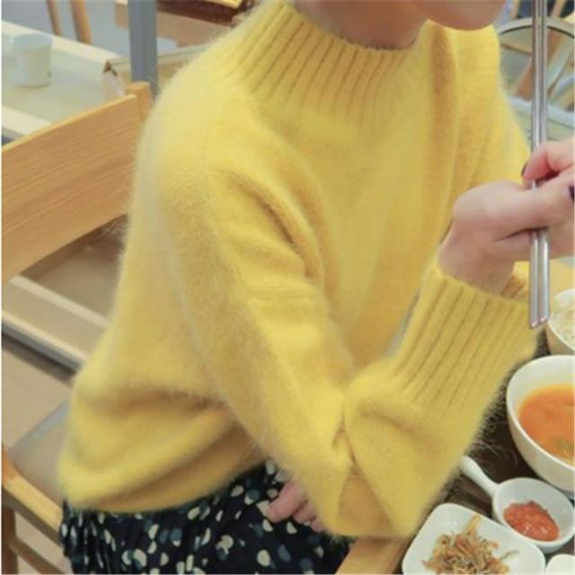 JSXDHK новый корейский женский вязаный свитер осень зима желтый норковый кашемир мягкие теплые пуловеры повседневные свободные топы с воротником стойкойВодолазки    АлиЭкспресс