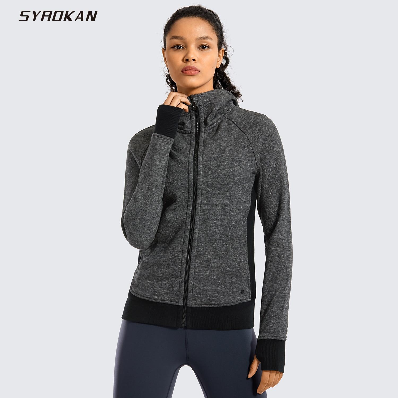 SYROKAN Women's Cotton Hoodies Sport Workout Full Zip Hooded Jackets Sweatshirt