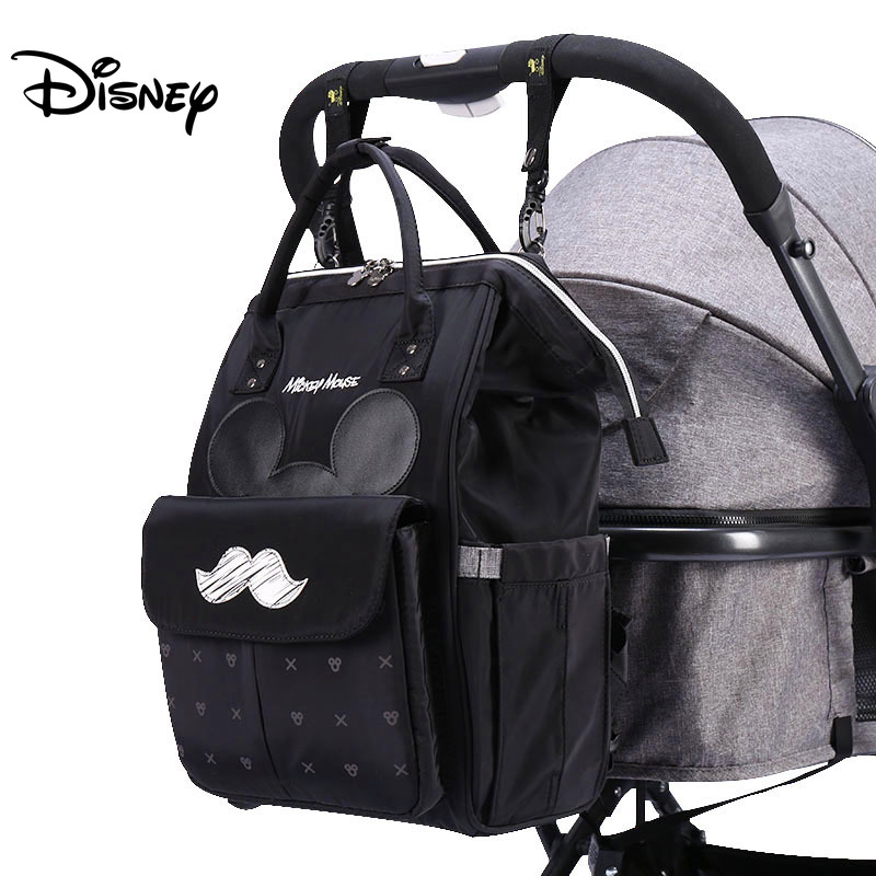 Disney Diaper Bags USB Wet Bag Warm Cute Mummy Maternity Nappy Diaper Stroller Insulation Travel Backpack Mickey Minnie Pram