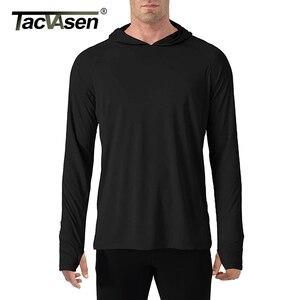 Image 4 - TACVASEN t shirt con protezione solare uomo manica lunga Casual t shirt con cappuccio a prova di UV magliette traspiranti per escursioni leggere