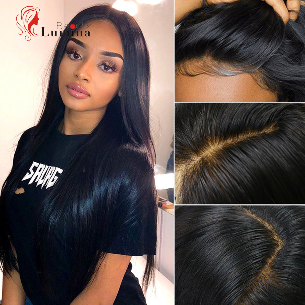 4x4 Closure Wig Braziliian Lace Closure Wig Straight Natural Black Color 30 Inch Lace Human Hair Wigs 180% Density Beauty Lumina