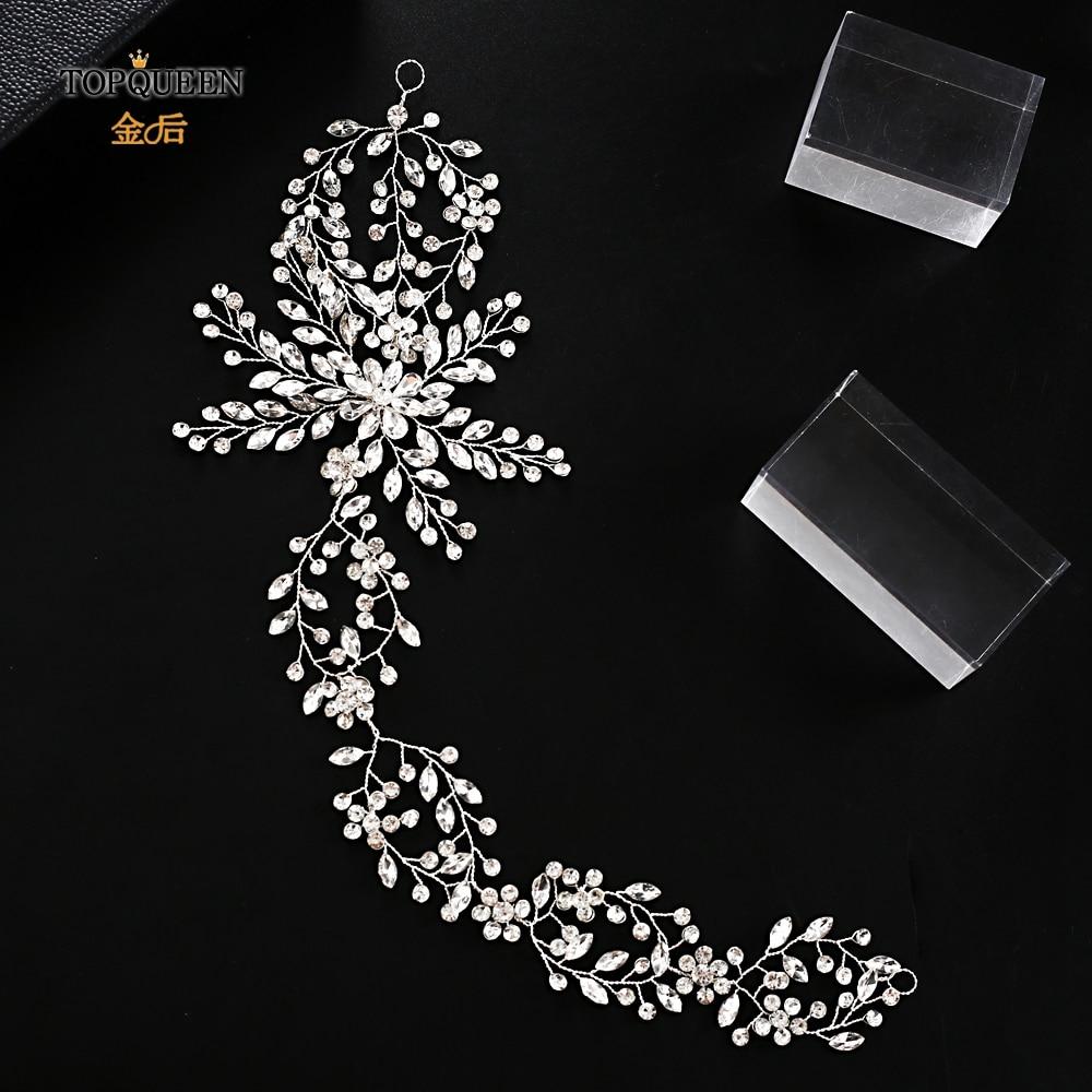 TOPQUEEN HP242 Elegant Crystal  Wedding Headdress Wedding Headband Hair Vine Glitter Crystal  Headpieces Bridal Tiara Jewelry