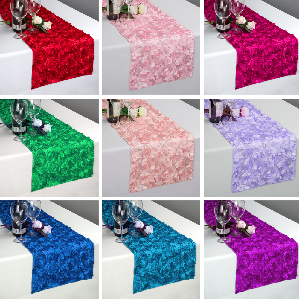 New Fashion Rosette Satin Table Runners 30x275CM 3D Grandiose Rose Wedding Party Decorations Home Textiles Table Acess FREE SHIP
