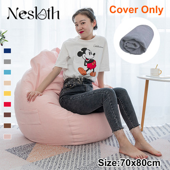 Nesloth Lazy BeanBag Sofas Cover Chairs without Filler Velvet Lounger Seat Bean Bag Pouf Puff Couch Tatami Living Room 70x80cm