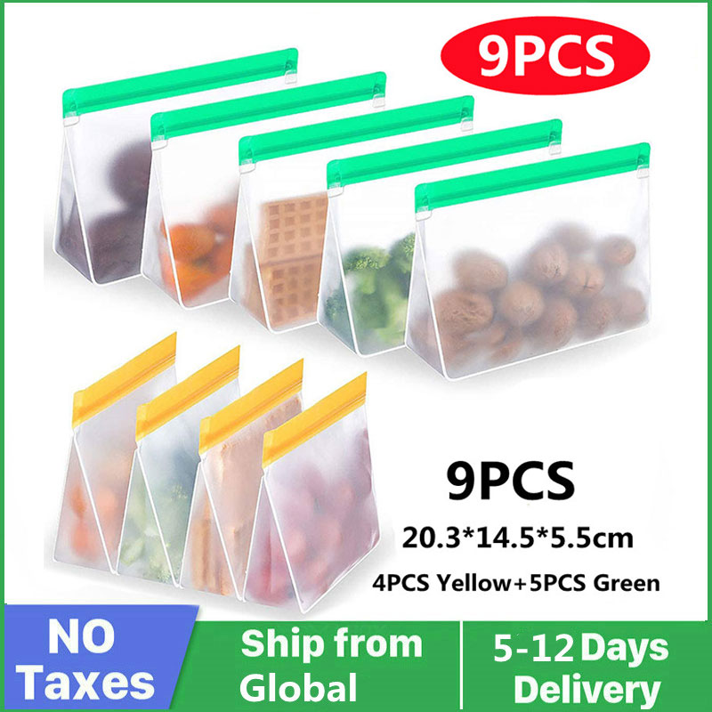 Многоразовый пищевой пакет PEVA, стоячий пищевой пакет для морозильной камеры, силиконовый пакет, герметичный кухонный Органайзер с крышкой, ...