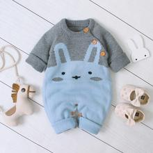 Autumn Baby Rompers For Boys Girls Jumpsuit Funny Cartoon Rabbit Knitted Newborn Bebes Overalls One Piece Toddler Infant Clothes autumn baby knit romper infant sweet girl knitted rabbit overalls bunny baby jumpsuit toddler girls boys clothing roupa menina
