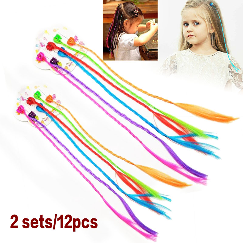 12pcs 30cm Kids Girls Colorful Nylon Braided Hair Clip-On Hair Extensions Attachments Children's Pigtail Wig Hair Decoration