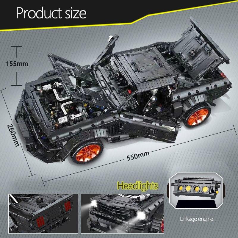 Building Block  MOC Ford Mustang Hoonicorn RTR V2 3219pcs Brick Model Car