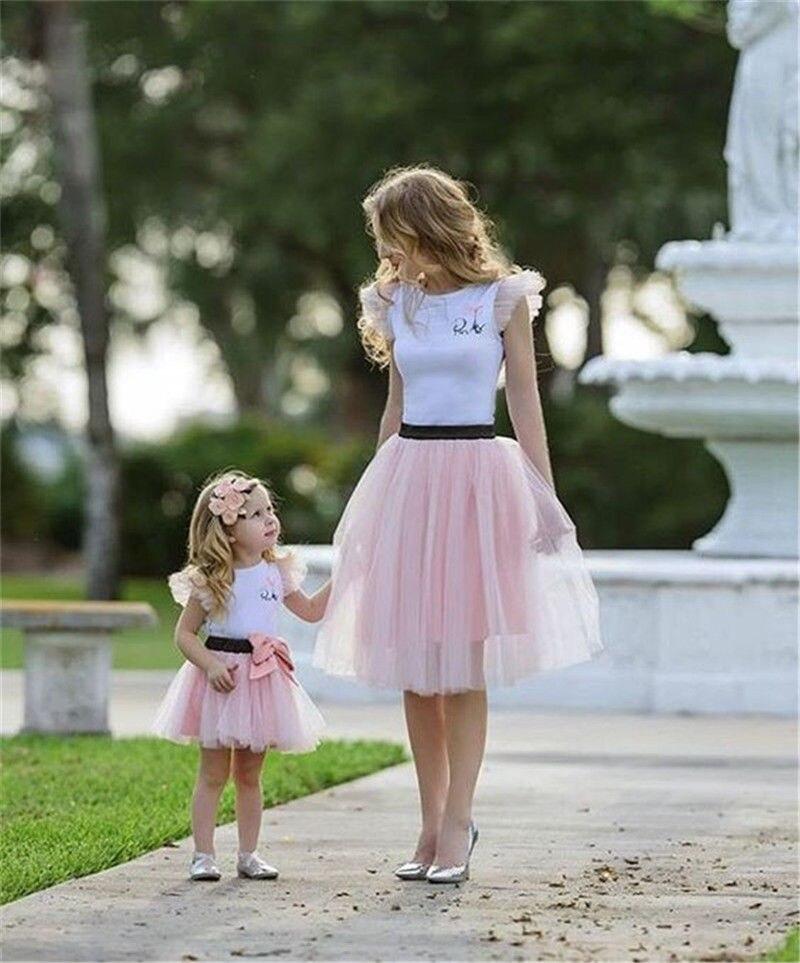 T-shirt TuTu à manches courtes, 2 pièces, jolies robes en coton, tenues d'été pour parents et enfants, 2020