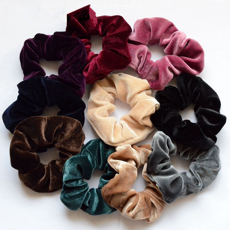 1Pc Simple Hairbands Women's Winter Velvet Headband Hair Scrunchies Hair Tie Hair Accessories Ponytail Holder Hair Free Shipping