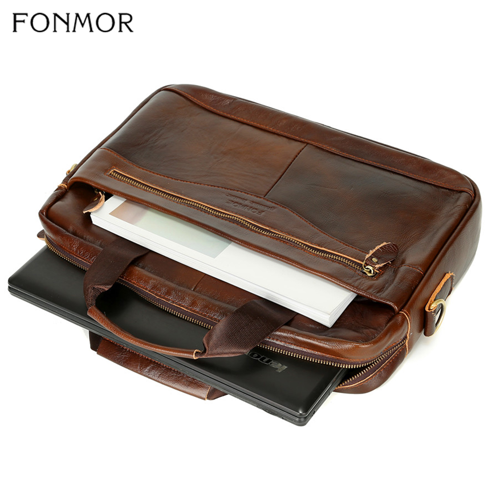 Image 5 - Fonmor Men Briefcase Laptop Bag Crossbody Bag Handbags Cowhide  Brown Travel Genuine Leather Business Large Capacity Shoulder  BagBriefcases