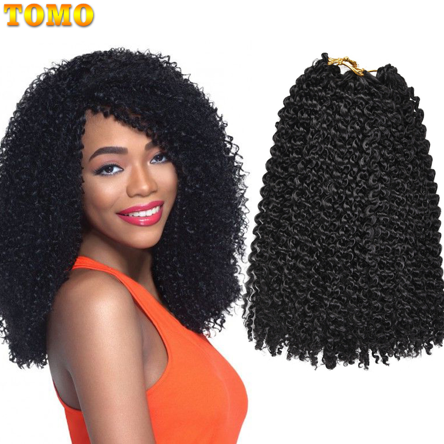 TOMO Afro Kinky Curly Hair Ombre Marlybob Crochet Braids 24Roots/Pack Synthetic Crochet Hair Weave Red Brown Braiding Hair