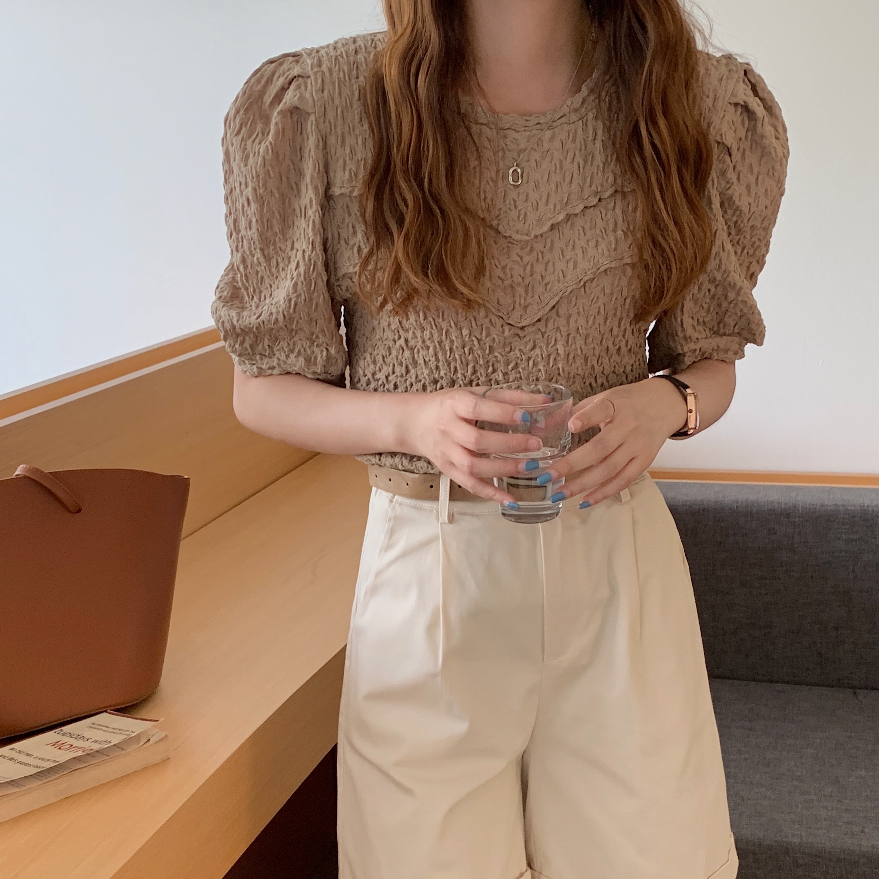 H0cfaae67db7b437fa01553d9cec4943cw - Summer O-Neck Short Sleeves Pleated Blouse
