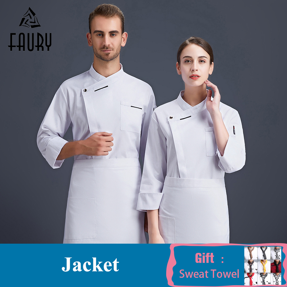 High Quality Chef Cook Uniform Kitchen Restaurant Work Clothes Bakery Cafe Pastry Barber Chef Waiter Workwear Jacket Overalls