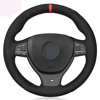 Osłona na kierownicę do samochodu miękkie czarne prawdziwa skóry zamszowe dla BMW serii 5 520i 528i F10 F11 F07 2009-2017 M5 F10 2011-2013 tanie i dobre opinie HKOADE CN (pochodzenie) Górna warstwa skóry Kierownice i piasty kierownicy 0 33kg Four seasons general purpose KXCL443