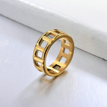 BAOYAN Korean Version of Simple Ring Light Luxury Baroque Hollow Design Rings for Men and Women image