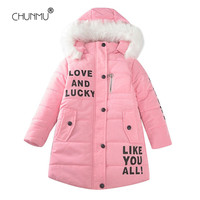 Girls Clothes Warm Hodded Faux Fur Collar Girls Winter Long Jacket Kids Girls Warm Coat Clothes For Teen Girls 3-12 Years