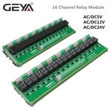 GEYA 16 Groups 1SPDT 1NC1NO Relay Module for AC DC 5V 12V 24V PLC Relay Board 12V 10A Electromagnetic Relay new original fx1s 30mr d plc 24v dc relay output base unit
