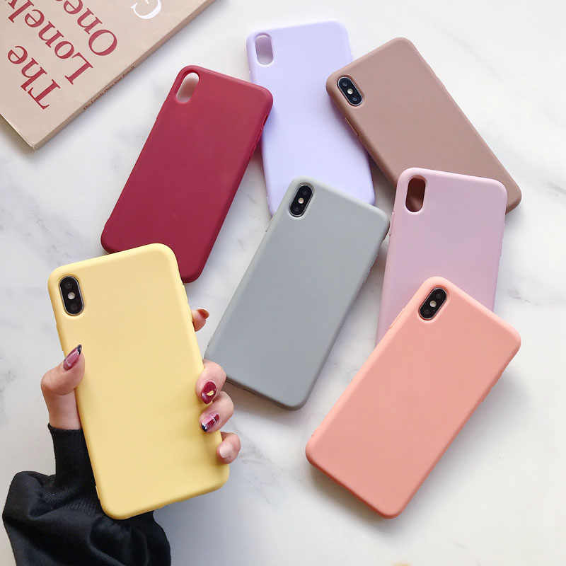 Custodia morbida in Silicone per iPhone 11 Pro XS Max XR X 10 8 7 6 6S Plus 7Plus 8Plus 6Plus Fashion Candy color couple Cover