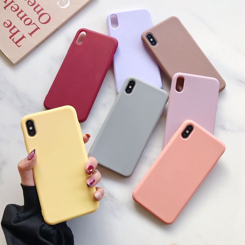Soft Silicone Case For iPhone 11 Pro XS Max XR X 10 8 7 6 6S Plus 7Plus 8Plus 6Plus Fashion Candy color Couples Cover