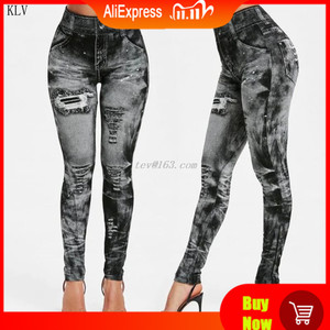 Image 1 - נשים 2019 חיקוי במצוקה ג ינס ג ינס חותלות מקרית גבוהה מותן Slim אלסטי מכנסי עיפרון