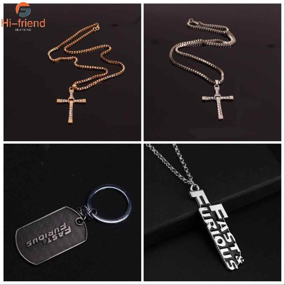Hot Movies Fast & Furious Hobbs and Shaw Cross Necklace Men's Jewelry Pendant Keychain Accessories Gift Amulet