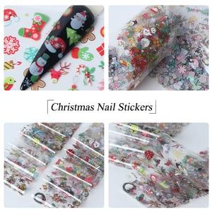 Image 4 - 10pcs חג המולד קישוטי ציפורניים לערבב צבעוני העברת נייל לסכל מדבקת שלג פרח איילים מתנה סנטה דבק נייר CH1036 1