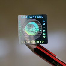 Boş gümüş hakiki garantili ve orijinal küresel Hologram etiket 20x20mm kare