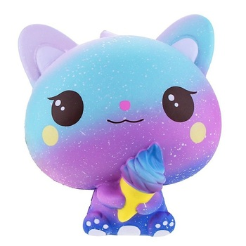 NEW Galaxy Ice Cream Cat Kitty Squishy Slow Rising Cute Jumbo Strap Soft Squeeze Scented Bread Cake Toy Gift Kid Fun 11*11*7 CM - discount item  25% OFF Stress Relief Toy
