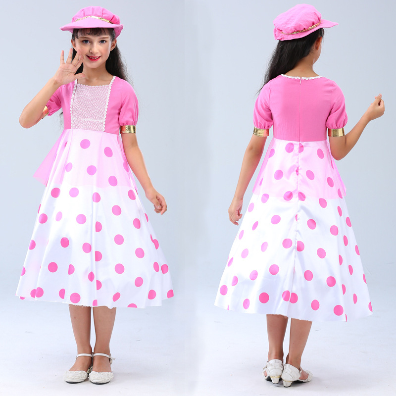 Movie Toy Story 4 Bo Peep hat Cosplay Costume Toy Story Dresses Kids girl Cute polka dot dress Cosplay Halloween party Costumes
