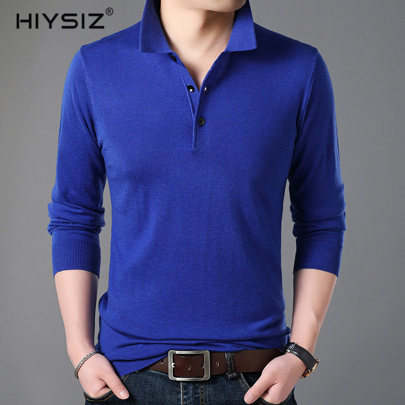 HIYSIZ New Men Sweaters 2019 Brand Autumn Winter Casual Turn down Collar Long Sleeves Button Streetwear Solid Pullover Men SW029 in Pullovers from Men 39 s Clothing