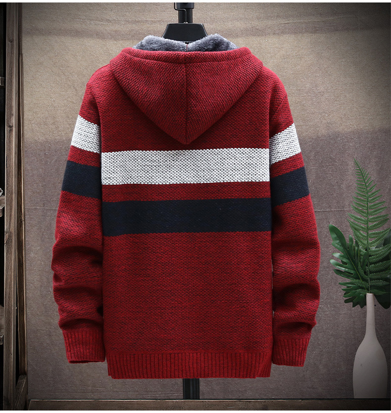 Winter Fleece Warm Sweater Men Hooded Cardigan Mens Striped Patchwork Slim Sweaters Coat Knitted Men's Christmas Jumper Clothing 5
