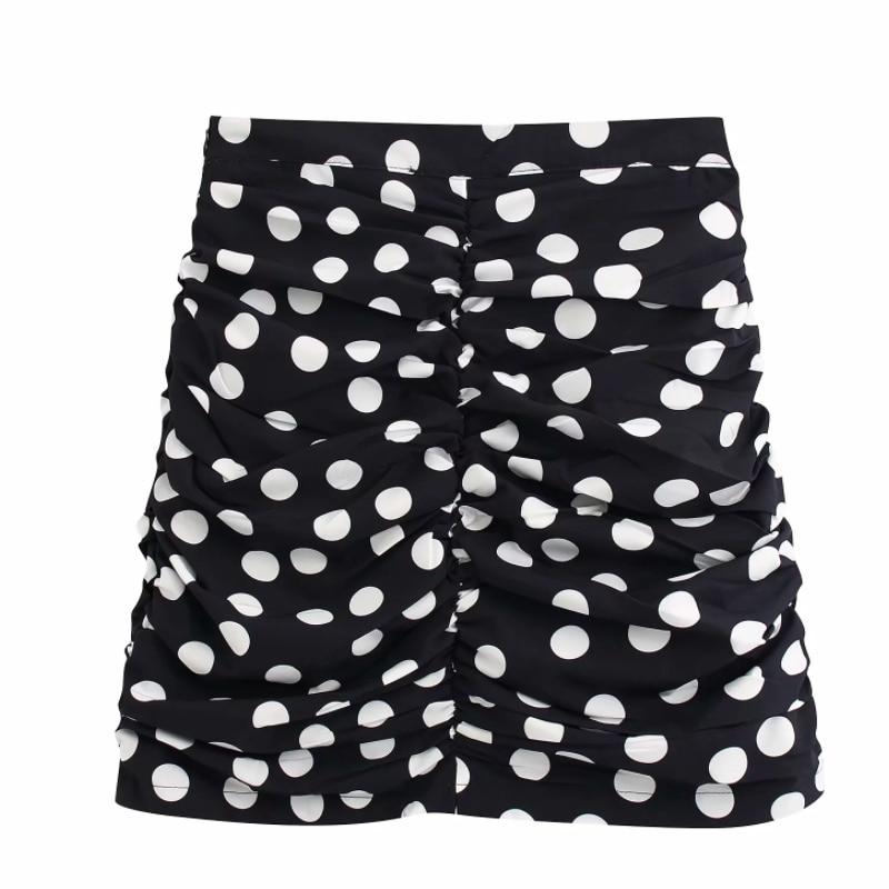 New Women Vintage Polka Dot Print Pleated Mini Skirt Faldas Mujer Ladies High Waist Side Zipper Chic Vestidos Slim Skirts QUN542