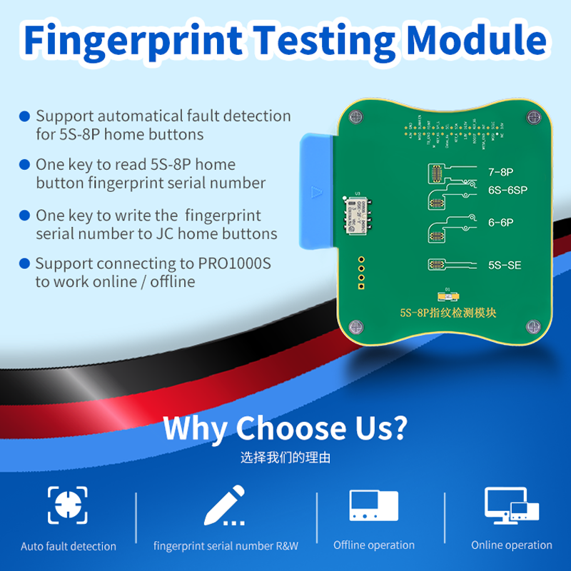 JC FPT-1 Fingerprint Testing Module For IPhone 5S 6g 6p 7 7p 8 8p Fault Detection Fingerprint Serial Number Reading And Write