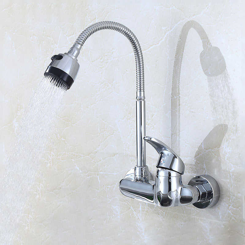 wall mounted single handle kitchen sink faucet 360 degree swivel flexible pipe hot cold water mixer tap wash basin tap dual hole