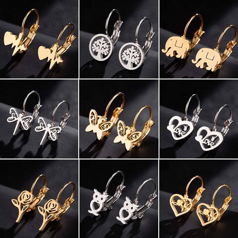 Oly2u Stud-Earrings Jewelry Stainless-Steel Butterfly Kids Cute Heartbeat Everyday Women