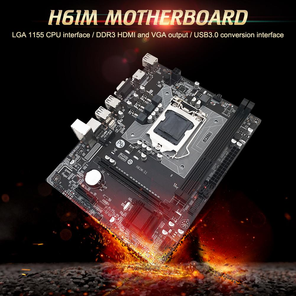computer motherboard H61M Desktop Computer Motherboard 1155 Pin CPU Interface Integrated RTL8105E 100M NIC All Solid State Motherboard Home Office (1)
